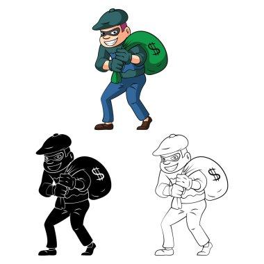 Coloring book Thief cartoon character