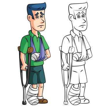 Cartoon injured man