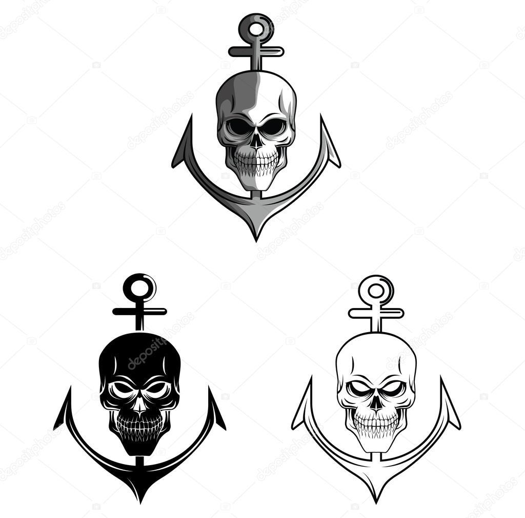 Personaje de dibujos animados de cráneo ancla de libro de colorear ...