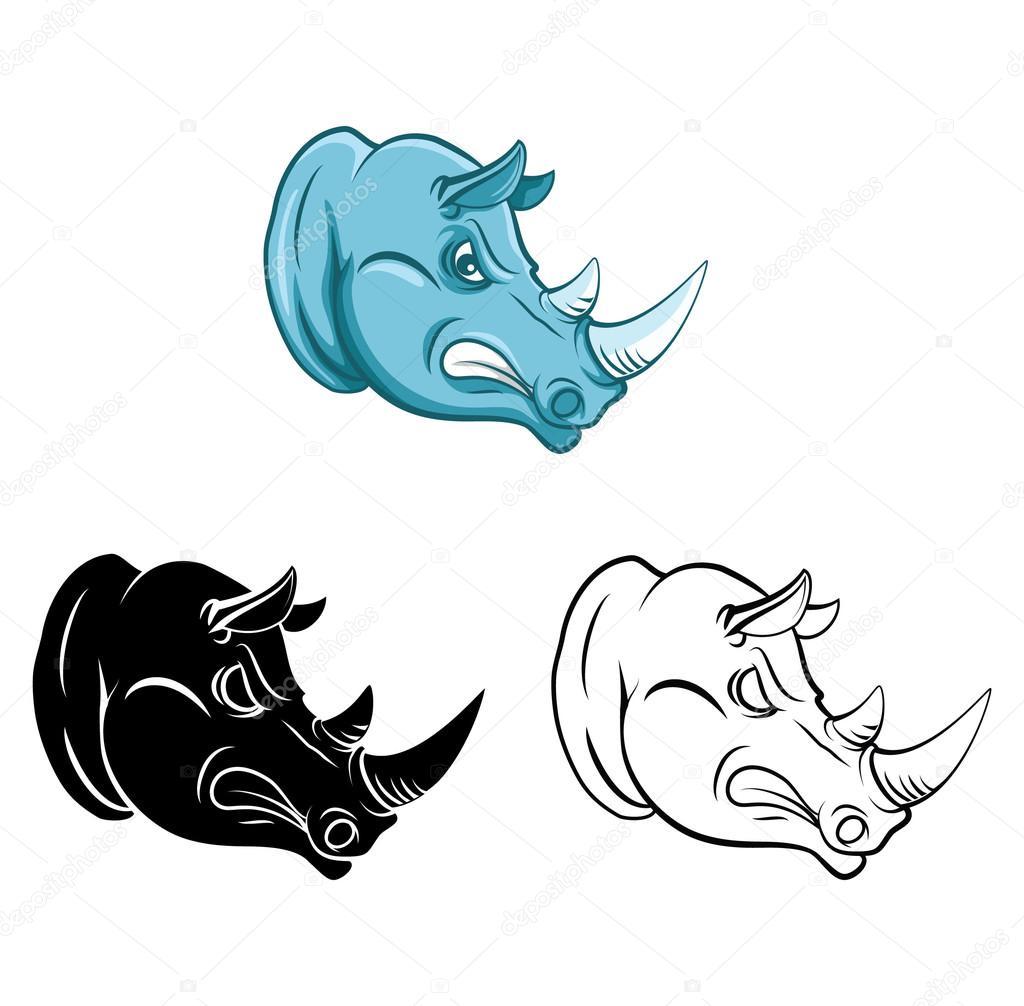 Libro Da Colorare Rhino Personaggio Dei Cartoni Animati Vettoriali