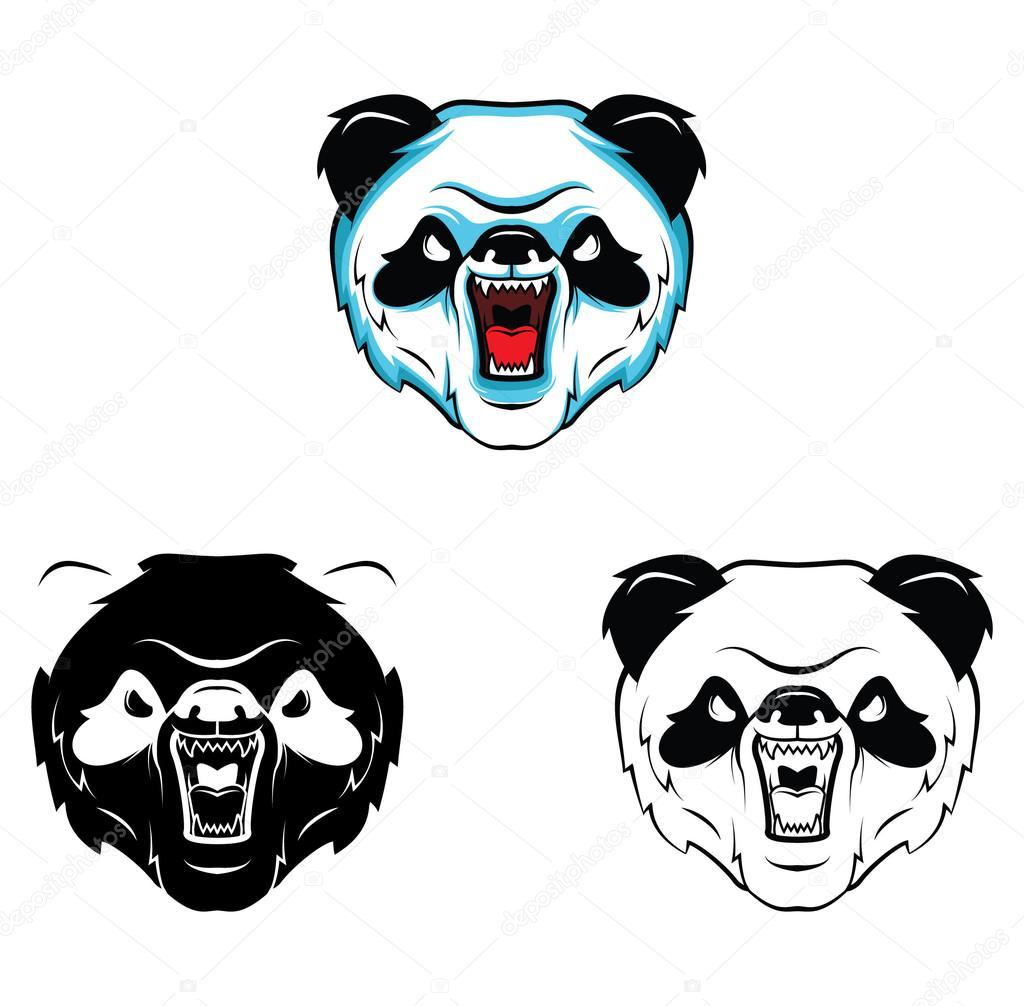 Boyama Kitabı Panda Kafa çizgi Film Karakteri Stok Vektör