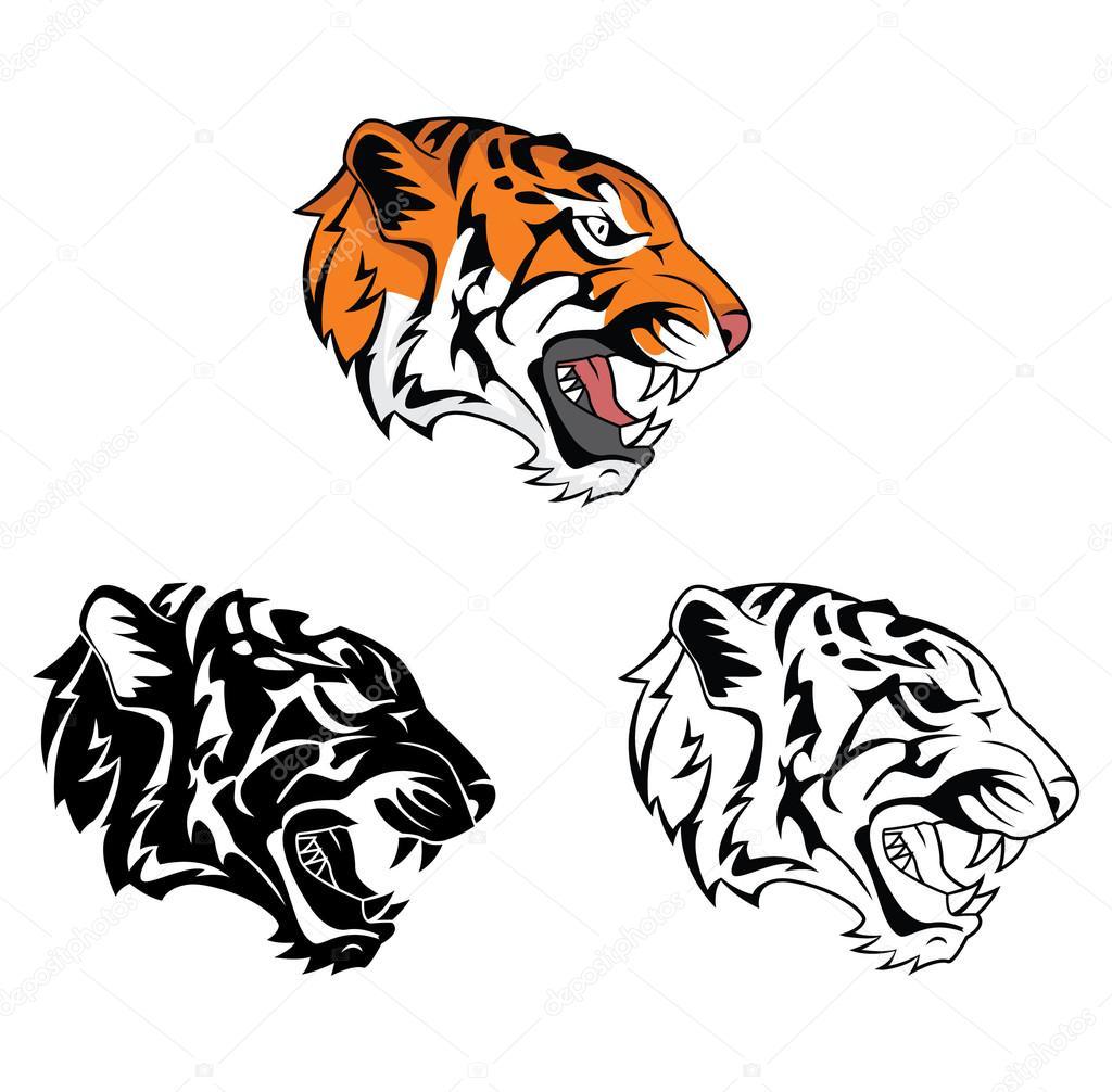 Rugido de tigre de libro para colorear personaje de dibujos animados ...