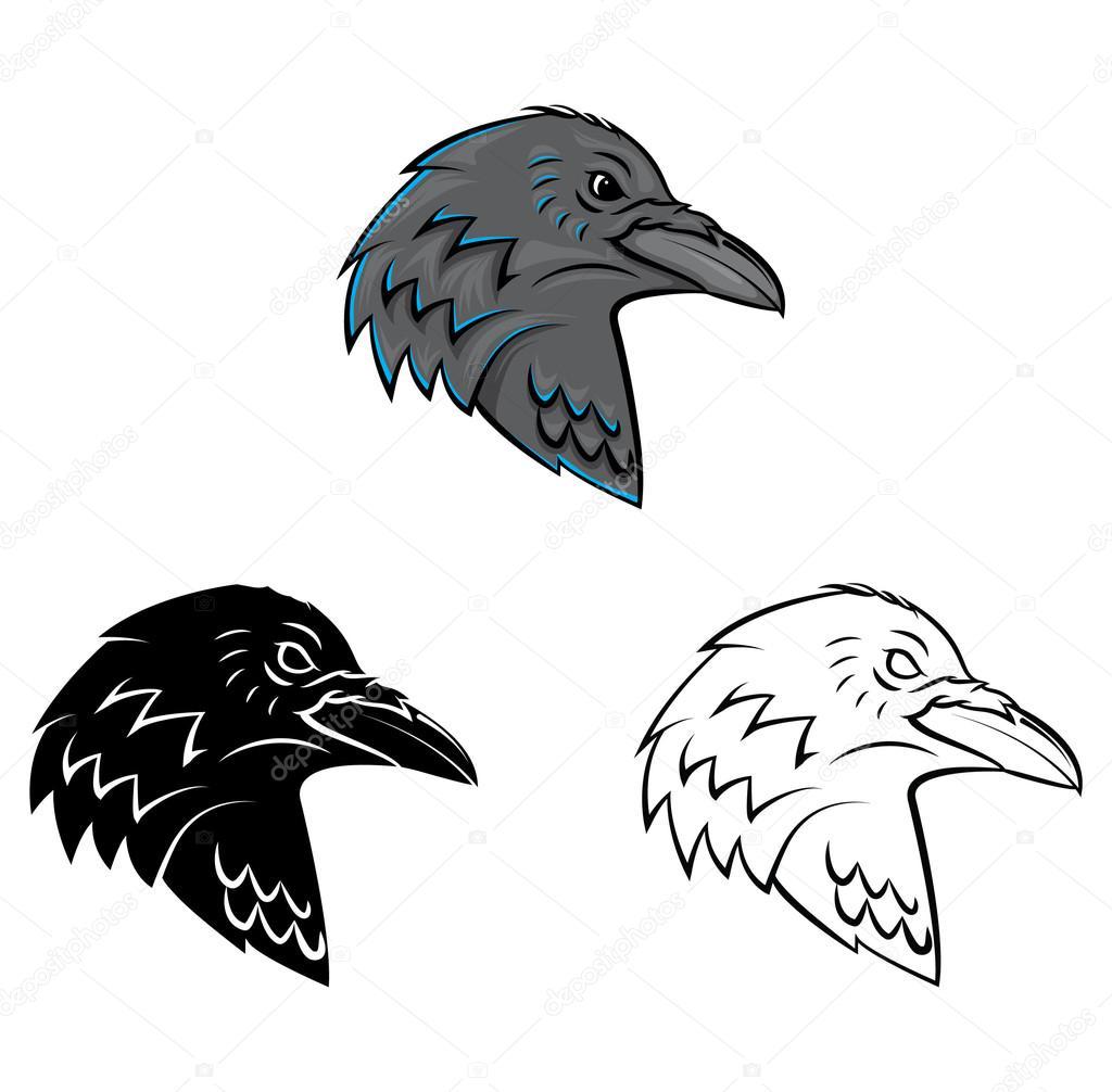 Livre de coloriage personnage de dessin anim de t te de corbeau image vectorielle - Coloriage corbeau ...