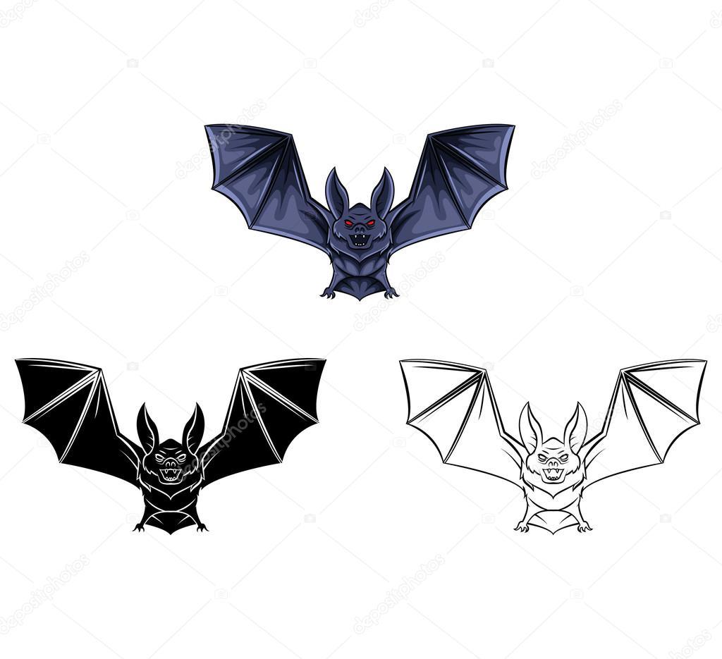 Colorear personaje de dibujos animados libro tatuaje de murciélago ...