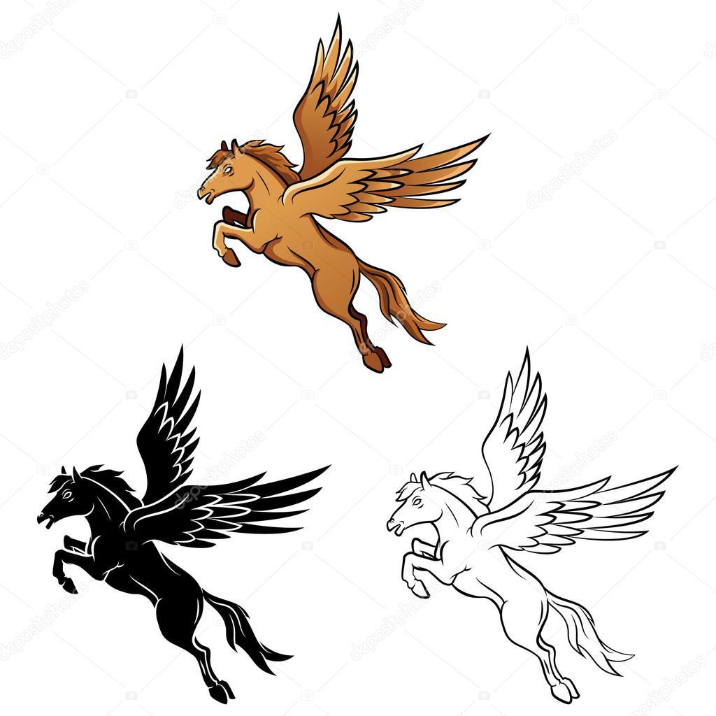 coloring book horse wings cartoon character u2014 stock vector