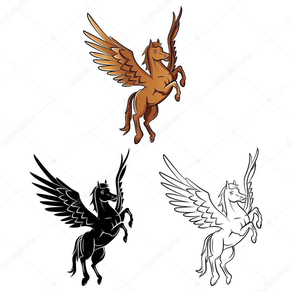 Boyama Kitabı At Kanatları çizgi Film Karakteri Stok Vektör