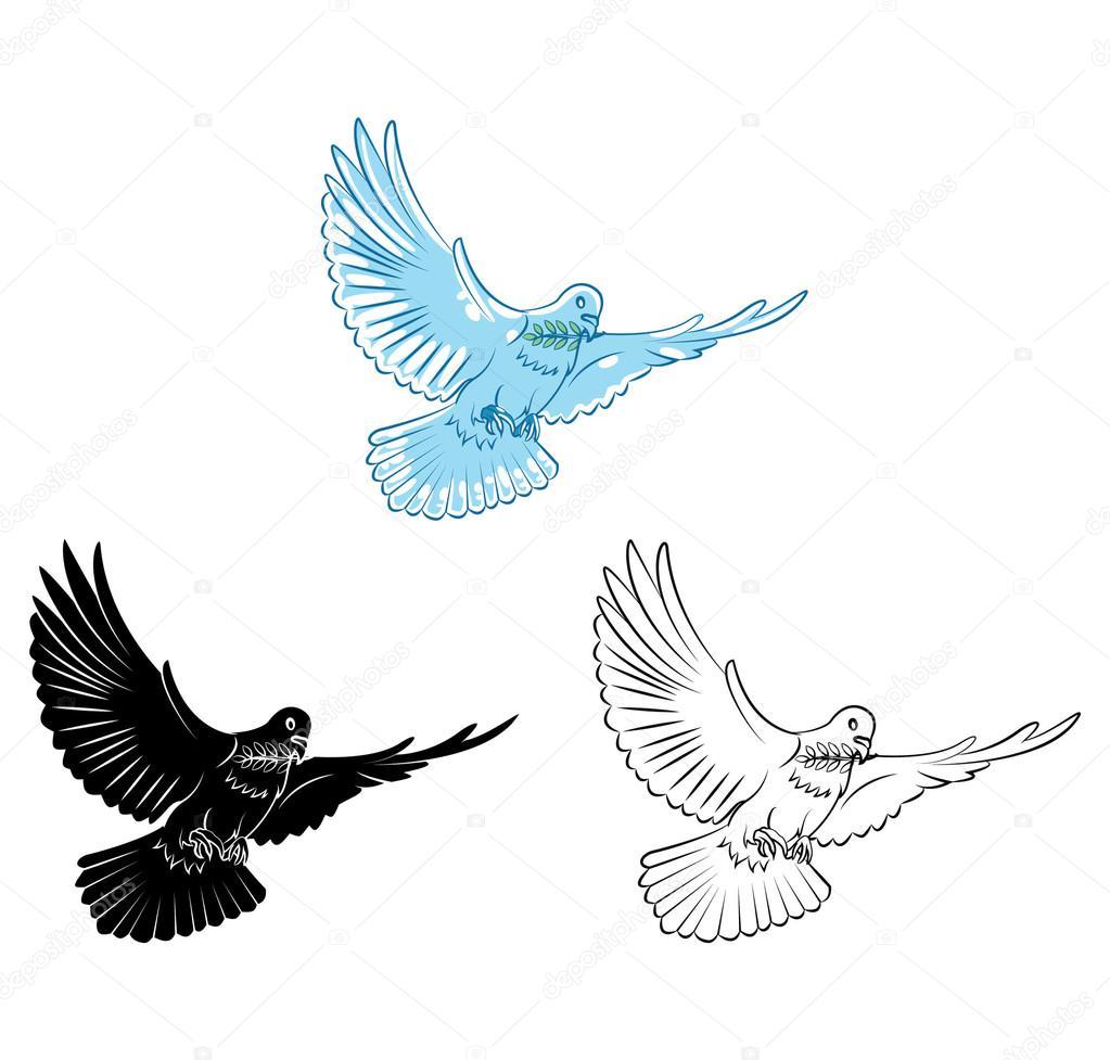 Boyama Kitabı Güvercin çizgi Film Karakteri Stok Vektör