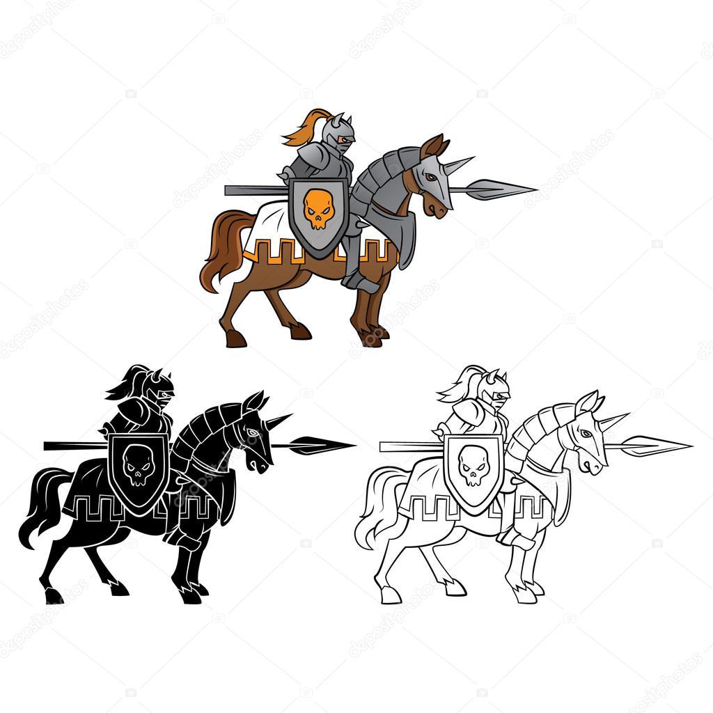 coloring book knight rider cartoon character u2014 stock vector