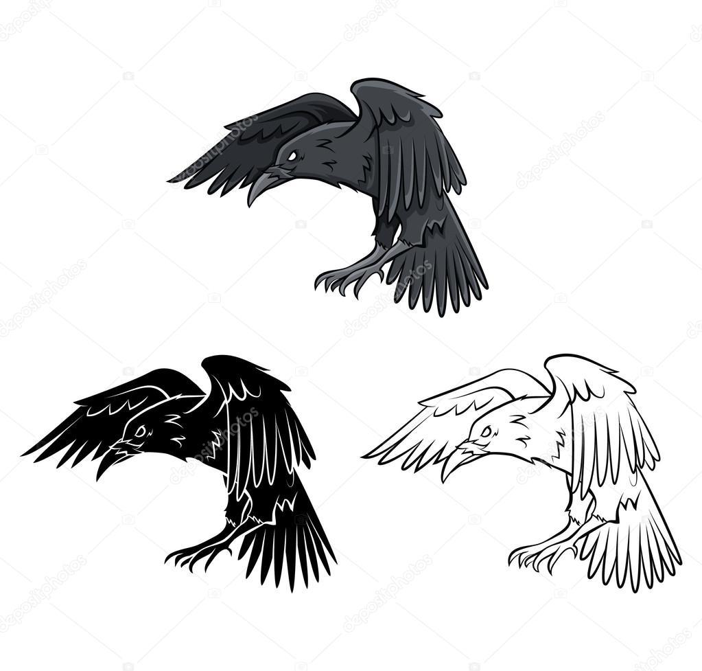 Coloring Book Raven Cartoon Character Stock Vector