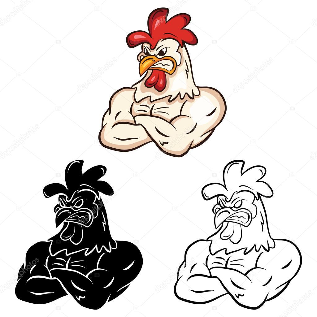 Libro de colorear de personaje de dibujos animados de pollo ...