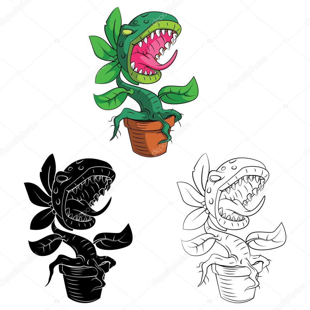 Färbung von Buch-Monster-Pflanze-Cartoon-Figur — Stockvektor ...