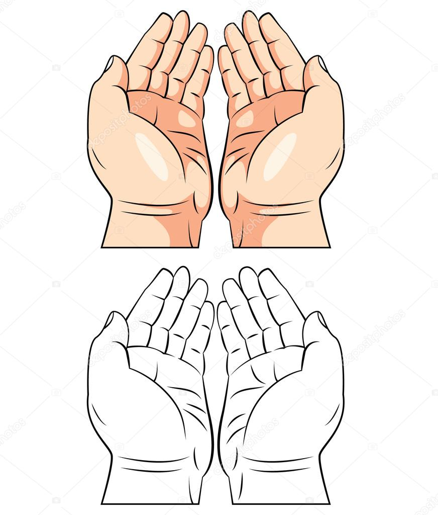 Coloring Book Praying Hand Cartoon Character Stock Vector