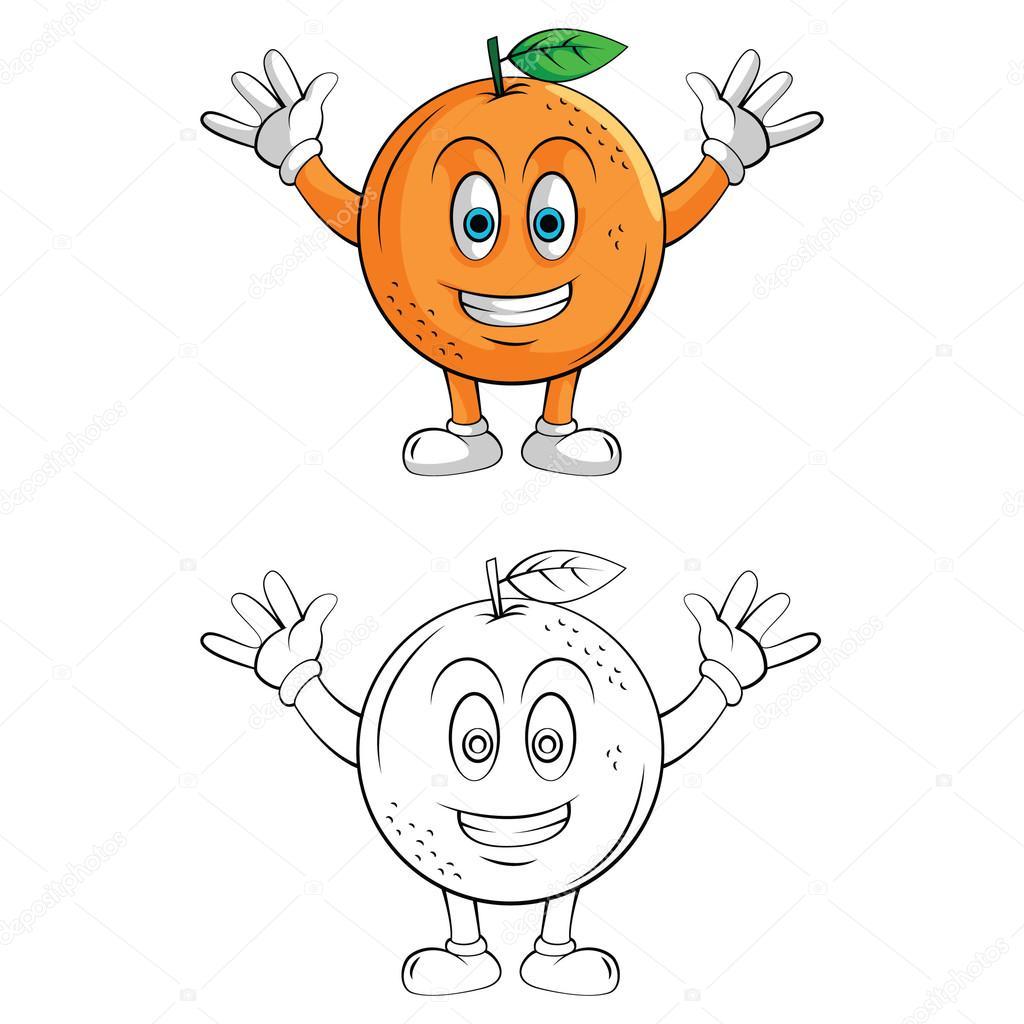 Kitap Orange Smile çizgi Film Karakteri Boyama Stok Vektör