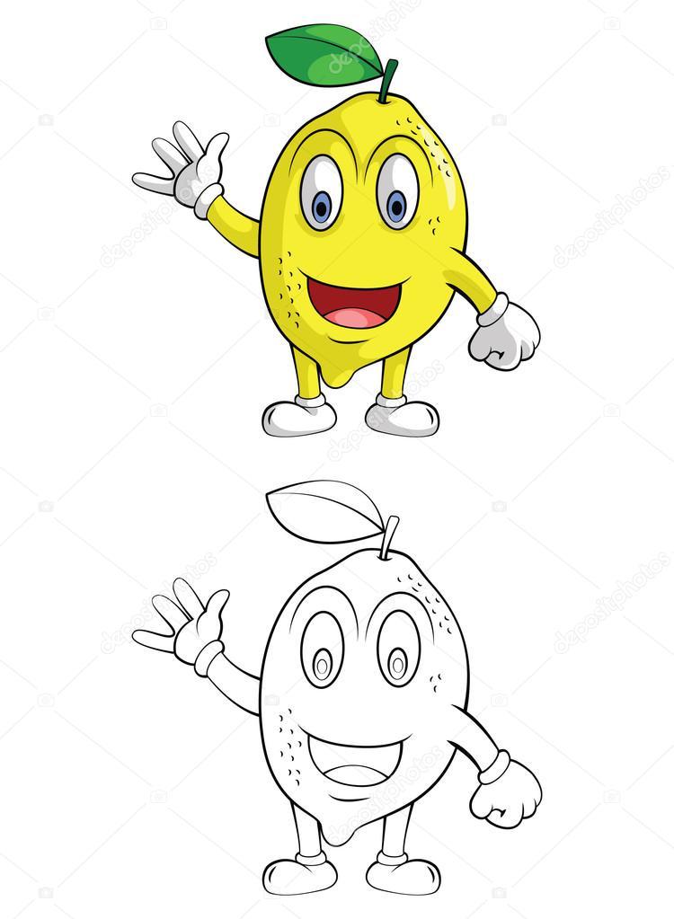 Personaje de dibujos animados de naranja de limón la sonrisa de ...