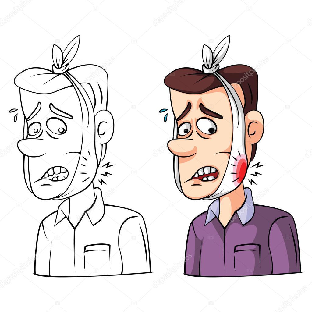 Coloring Book Toothache Sick Cartoon Character Stock Vector