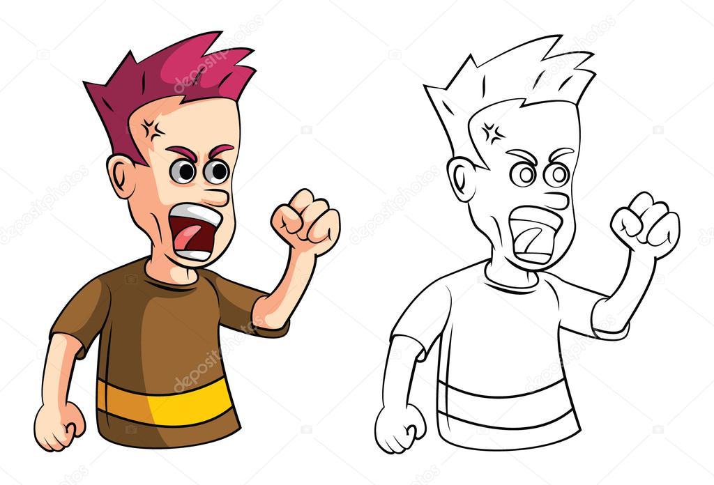 Färbung von Buch Angry junge Comic-Figur — Stockvektor ...