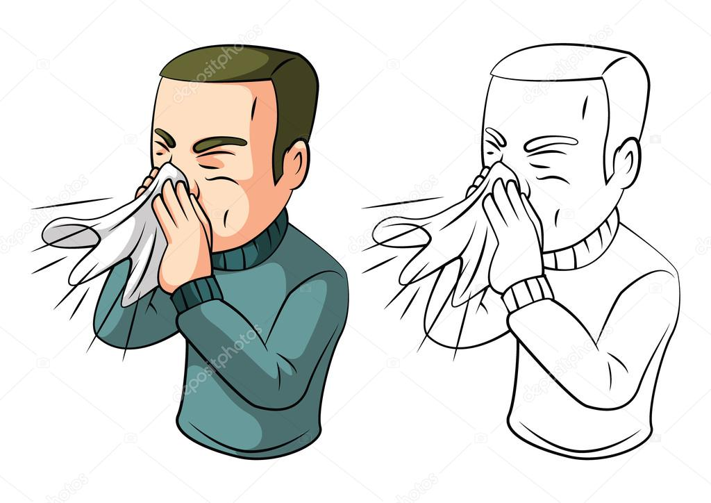 Coloring Book Sneezing Man Cartoon Character Stock Vector
