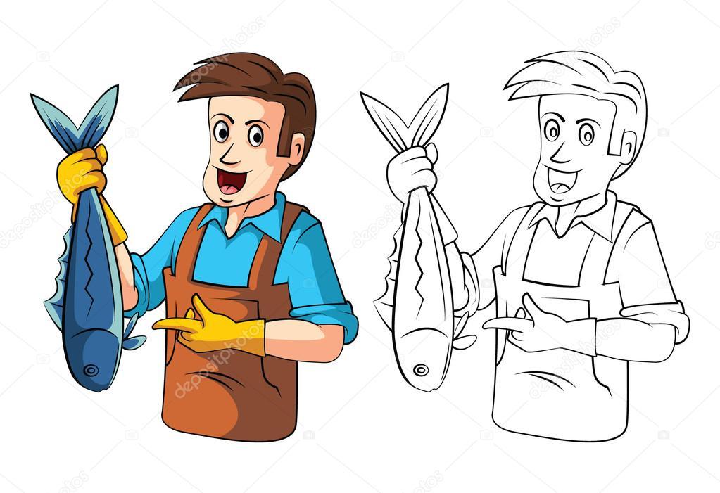 Personaje De Dibujos Animados Para Colorear Vendedores De
