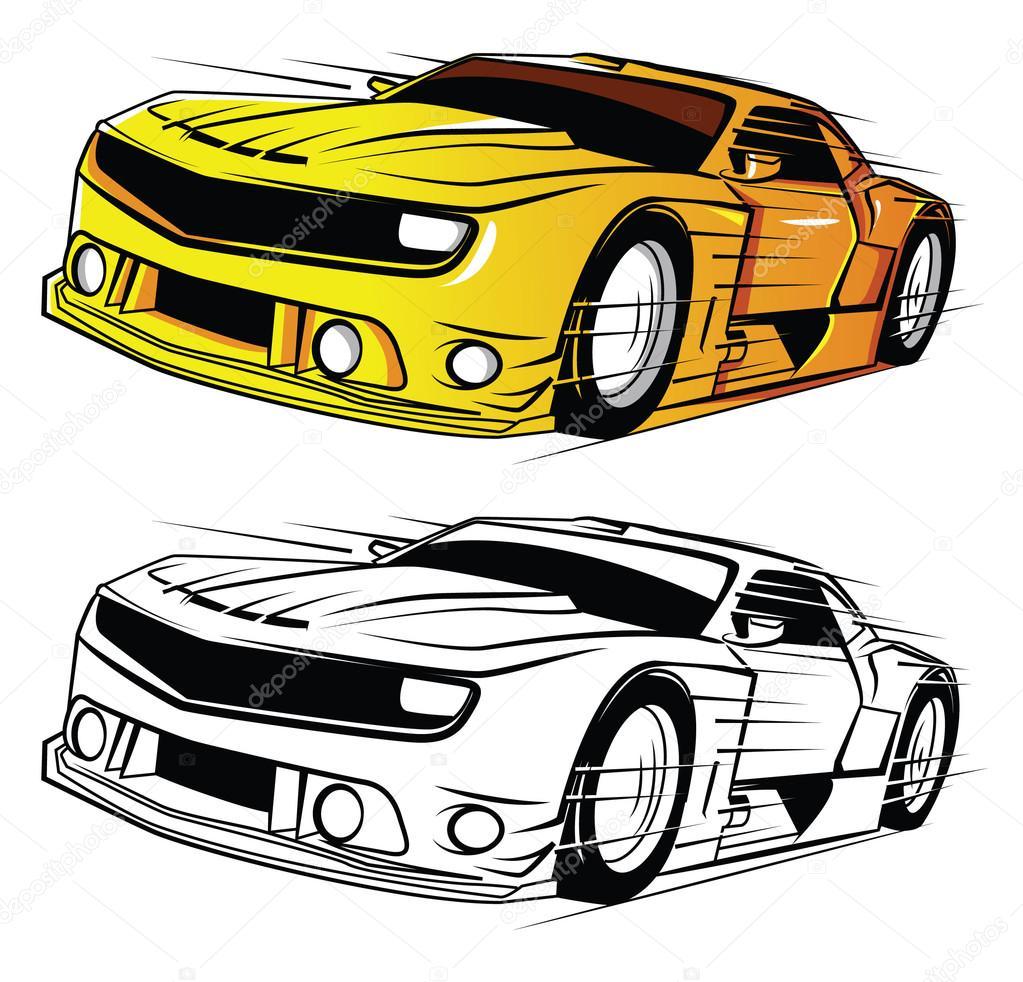 Kitap Süper Araba Karikatür Karakter Boyama Stok Vektör