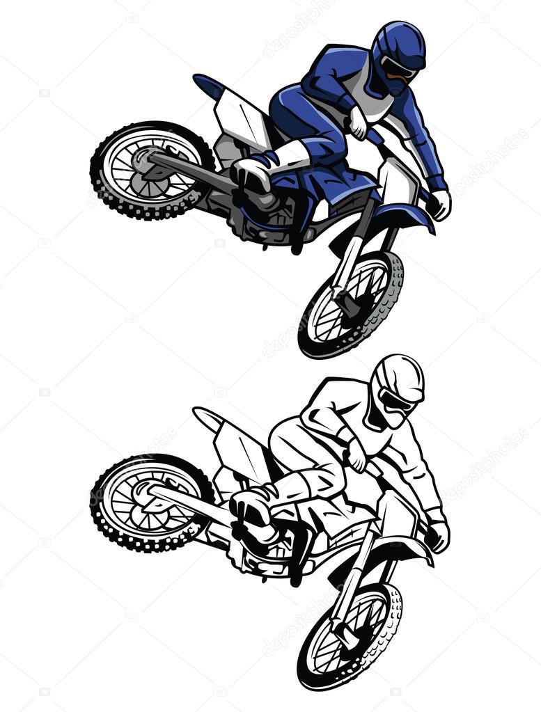 Colorear libro moto cross personaje de dibujos animados — Archivo ...
