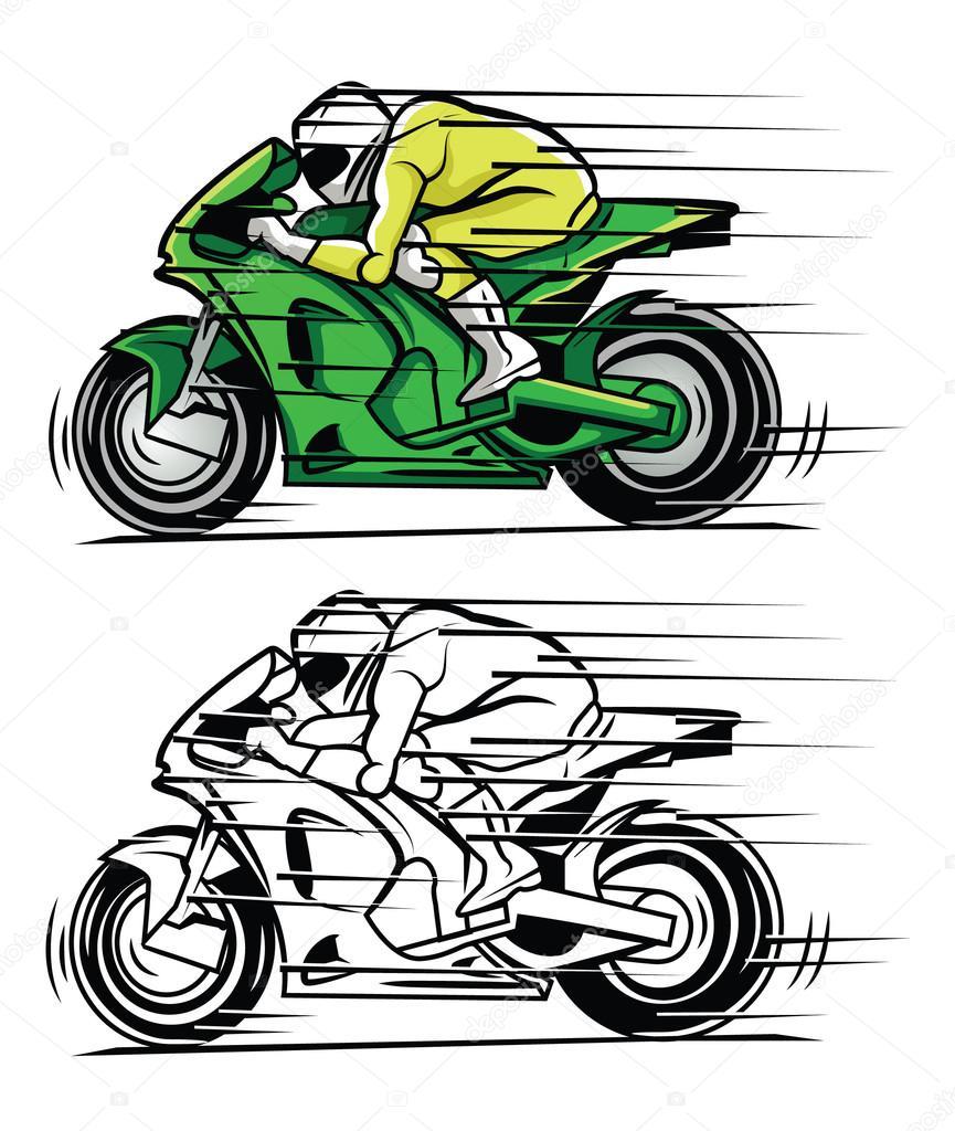 Boyama Kitabı Moto Yarışı çizgi Film Karakteri Stok Vektör