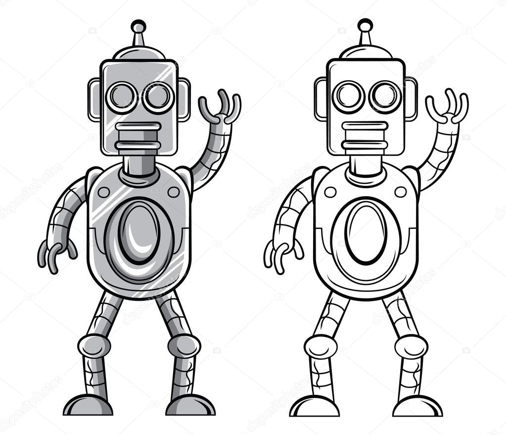 Coloring pictures robot - Coloring Book Robot Cartoon Character Stock Illustration