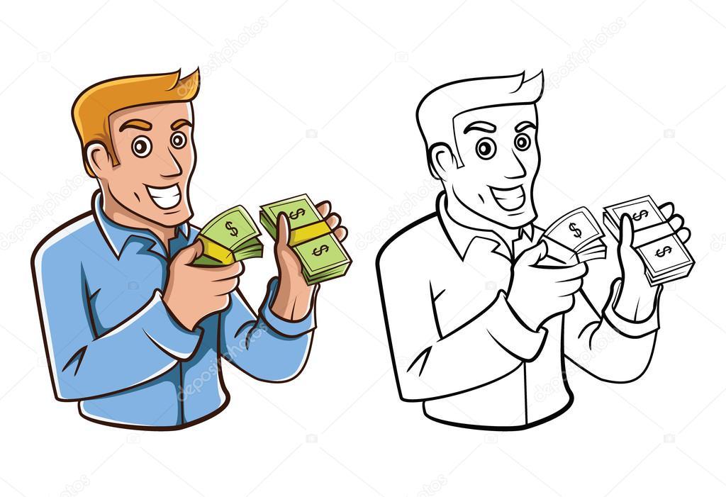 Coloring Book Businessman Money Cartoon Character