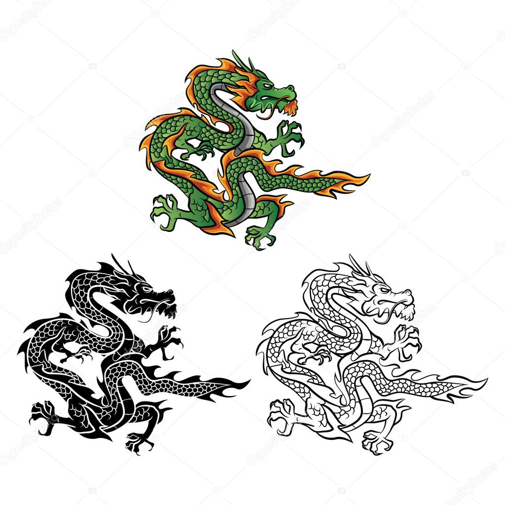 Coloring Book Dragon Vector Cartoon Character Stock Illustration