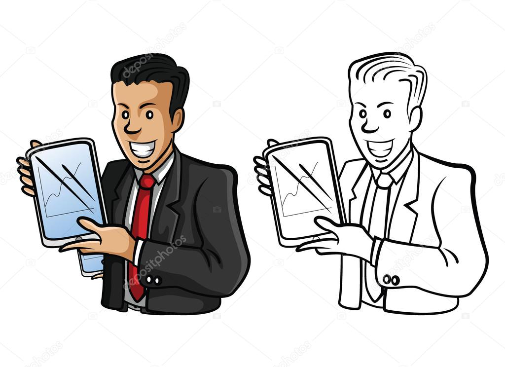 Personaje de dibujos animados de empresario presentación de libro de ...