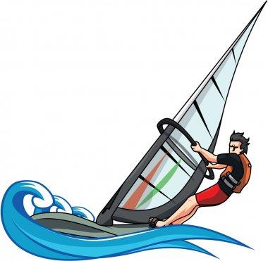 Wind surfing vector illustration design