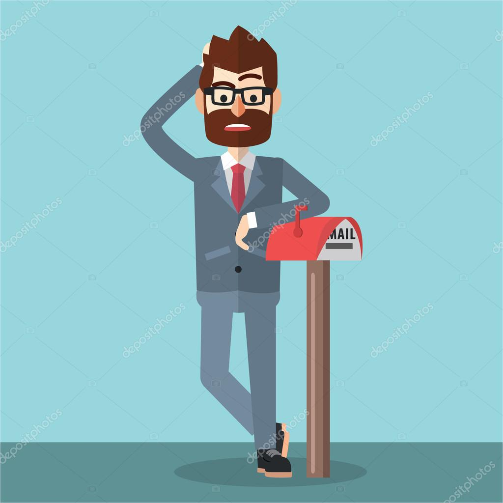 Waiting For Mail >> Business Man Waiting For Mail Stock Vector C Funwayillustration
