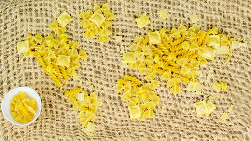 Map of the world made of raw pasta on fabric background stock map of the world made of raw pasta on fabric background stock photo gumiabroncs Gallery