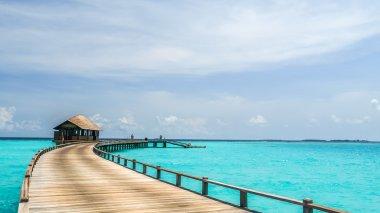 view of water bungalow in irufushi island,  maldives