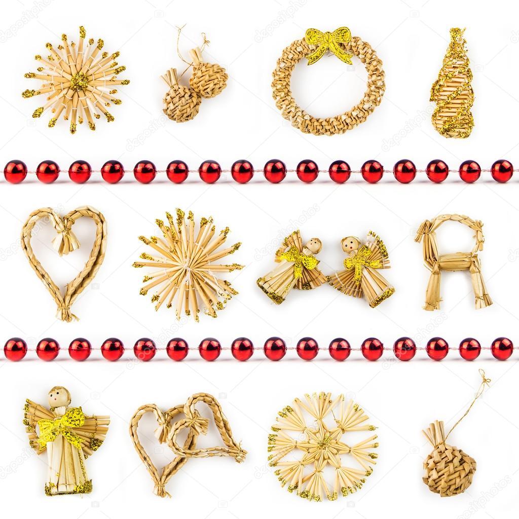 Straw Christmas Symbols On White Background Stock Photo Jansucko