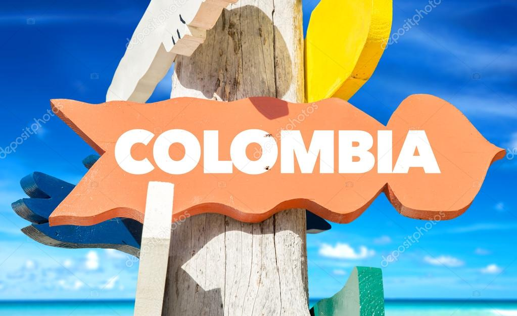 colombia wooden signpost