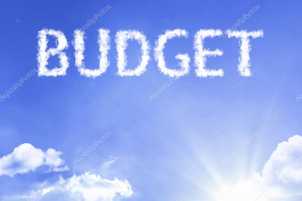 budget cloud word with sky