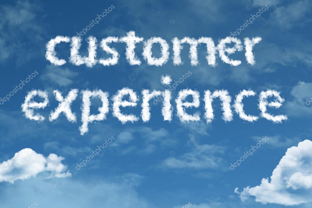 Customer Experience cloud words with sky