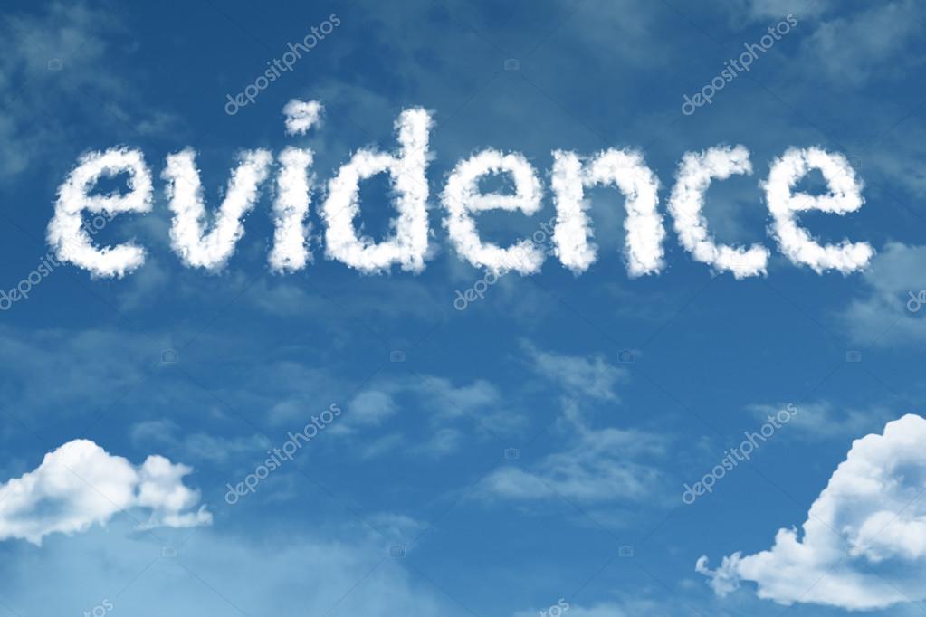 evidence cloud word with sky