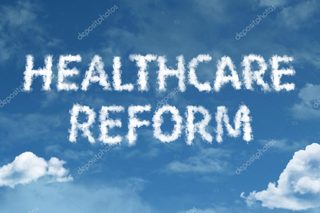 Healthcare Reform cloud words with sky