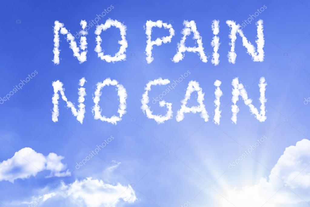 No Pain No Gain cloud words with sky