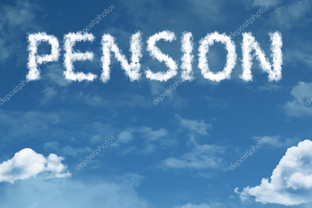 pension cloud word with sky