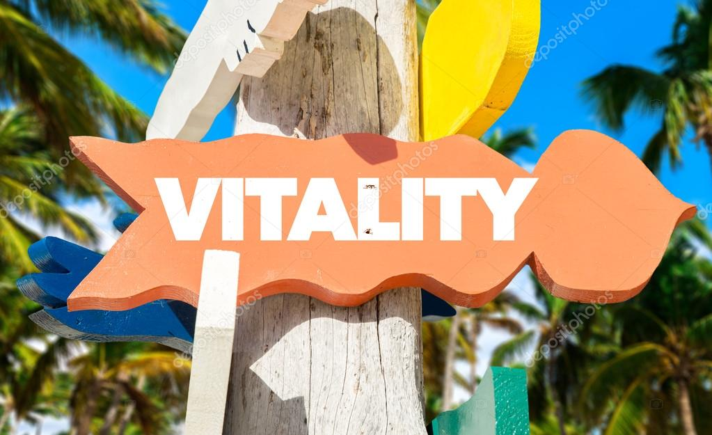vitality signpost with beach