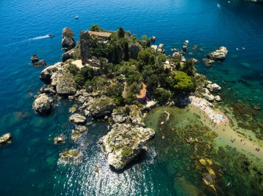 beach and island Isola Bella at Taormina