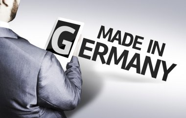 Business man with the text Made In Germany