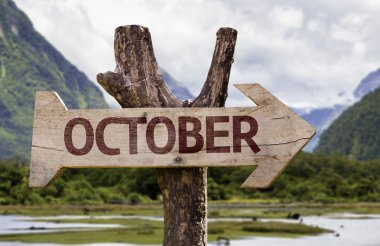 October wooden sign