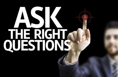 Businessman with text: Ask The Right Questions