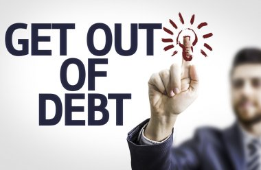 Board with text: Get Out of Debt