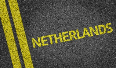 Netherlands written on the road