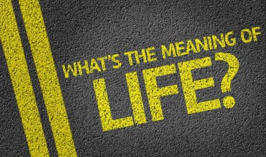 What's the Meaning of Life? written on the road