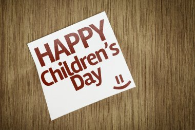 Happy Childrens Day on Paper Note
